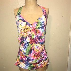 Shapes benefits,floral tankini swimwear.size 14.